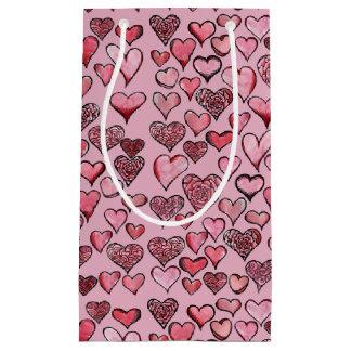 Corações artísticos dos namorados sacola para presentes pequena