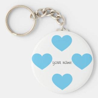 """Corações azuis de Emoji e '' seu nome aqui """" Chaveiro"""