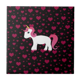 Corações bonitos do rosa do preto do unicórnio azulejo