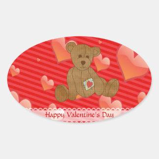 Corações bonitos do vermelho do urso de ursinho de adesivo oval