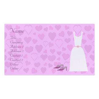 Corações bonitos, vestido & calçados dos desenhos cartão de visita