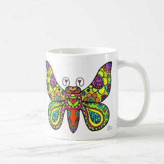 Corações & borboleta das flores caneca