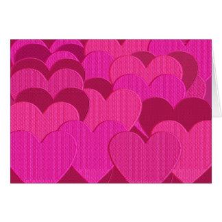 Corações bordados cartão