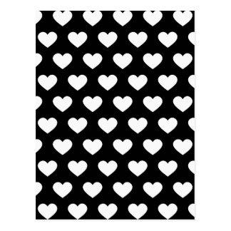 Corações brancos das bolinhas (fundo preto) cartão postal