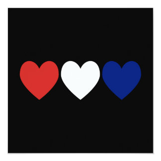 Corações brancos e azuis vermelhos convite quadrado 13.35 x 13.35cm