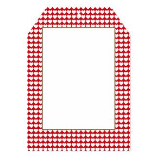 Corações brancos no vermelho do batom convite 12.7 x 17.78cm