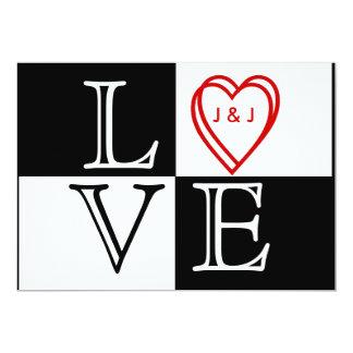 Corações brancos pretos do AMOR que Wedding a Convite 12.7 X 17.78cm