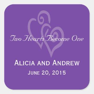 Corações brancos roxos que Wedding etiquetas do Adesivo Quadrado