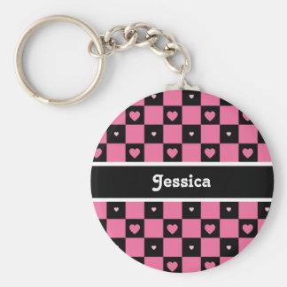 Corações Checkered cor-de-rosa e pretos modernos Chaveiro