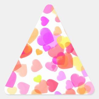 Corações coloridos adesivo triangular
