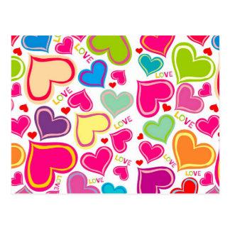corações coloridos cartao postal