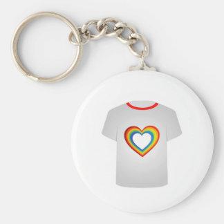 Corações coloridos do molde da camisa de T Chaveiros