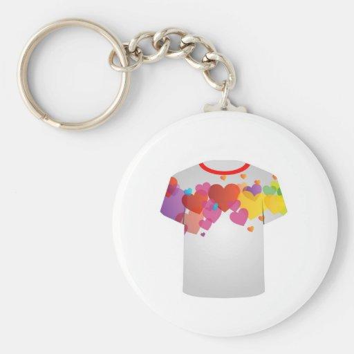 Corações coloridos do molde da camisa de T Chaveiro