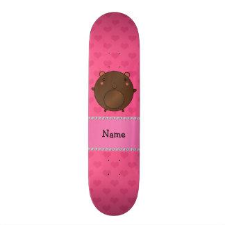Corações conhecidos personalizados do rosa do urso shape de skate 21,6cm