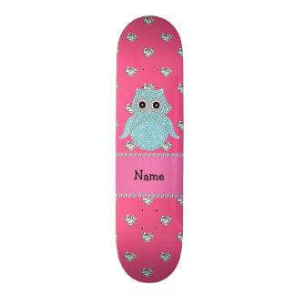 Corações cor-de-rosa bling personalizados dos diam shape de skate 18,1cm