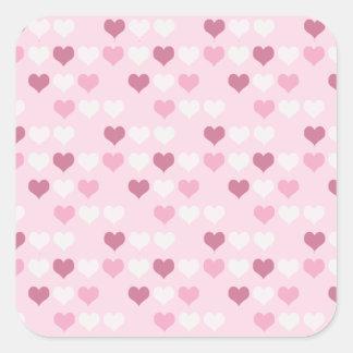 Corações cor-de-rosa bonitos adesivo quadrado