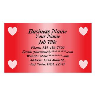 Corações cor-de-rosa cartões de visita