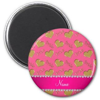 Corações cor-de-rosa conhecidos feitos sob ímã redondo 5.08cm