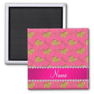 Corações cor-de-rosa conhecidos feitos sob ímã quadrado