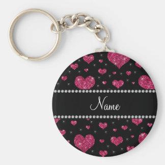 Corações cor-de-rosa conhecidos personalizados do  chaveiro
