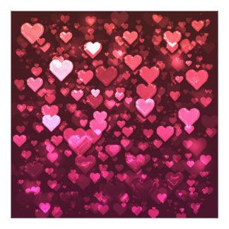 Corações cor-de-rosa e vermelhos vibrantes de impressão de foto
