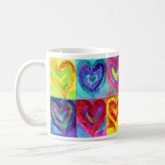 Corações da aguarela caneca de café
