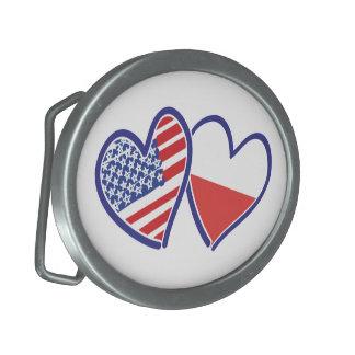 Corações da bandeira do Polônia dos EUA