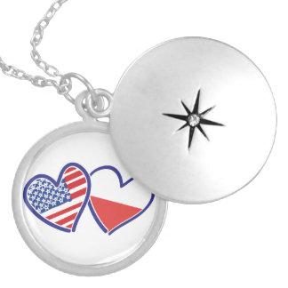 Corações da bandeira do Polônia dos EUA Colar Banhado A Prata