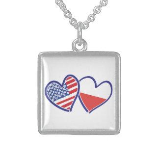 Corações da bandeira do Polônia dos EUA Colar De Prata Esterlina