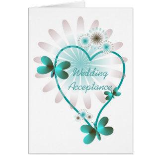 Corações da borboleta do cartão da aceitação do
