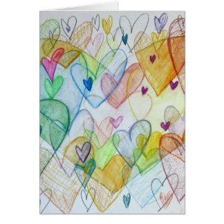 Corações da comunidade que pintam o cartão feito