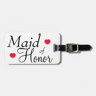 Corações da madrinha de casamento tags de mala