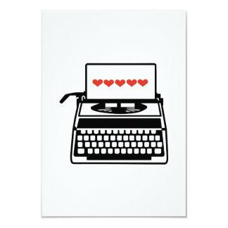Corações da máquina de escrever convite personalizados