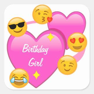 Corações da menina do aniversário & etiquetas de