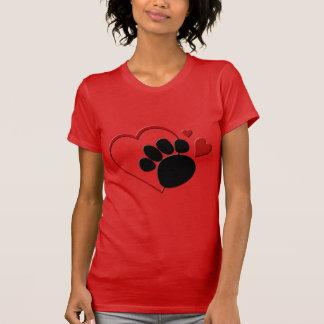 Corações da pata do cão eu amo meu jérsei fino camiseta