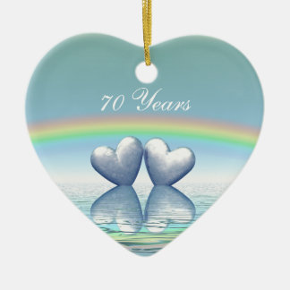 corações da platina do aniversário do 70 ornamento de cerâmica coração
