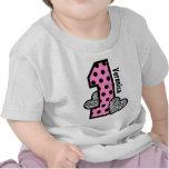 Corações da zebra das bolinhas do ROSA do primeiro Camisetas
