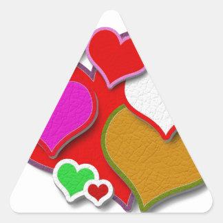 Corações de couro costurados adesivo triangular