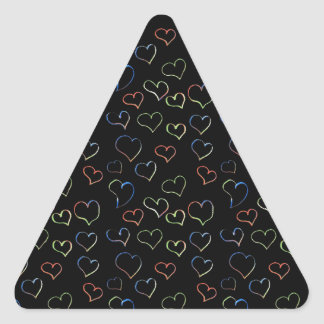 corações de néon do amor adesivo triangular