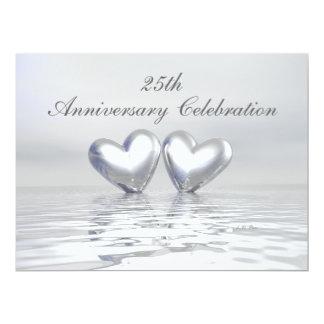 Corações de prata do aniversário convite 16.51 x 22.22cm