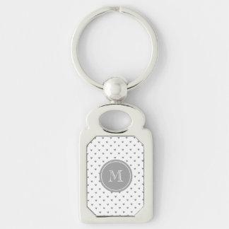 Corações de prata do brilho com monograma chaveiro retangular cor prata