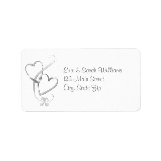 Corações de prata que Wedding etiquetas de endereç