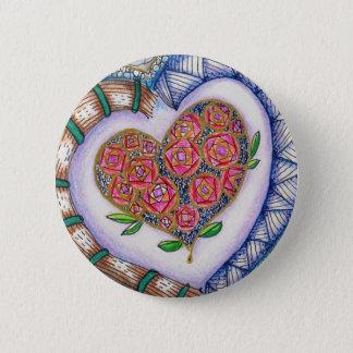 Corações & detalhe das flores (2,25 polegadas bóton redondo 5.08cm