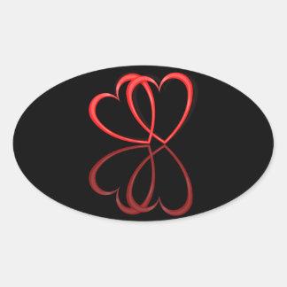 Corações do amor adesivo oval