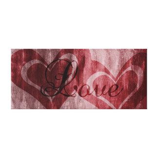 Corações do amor impressão de canvas esticadas
