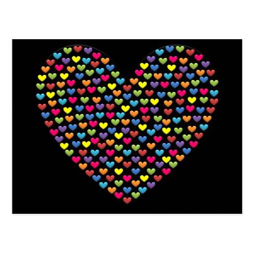 Corações do amor do arco-íris do bombom cartao postal