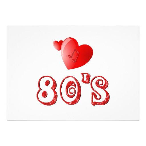 corações do anos 80 convites personalizados