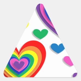 Corações do arco-íris adesivo triangular