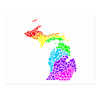 corações do arco-íris do orgulho de michigan cartão postal