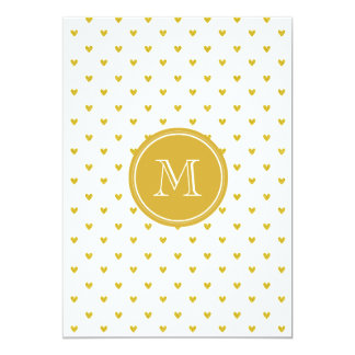 Corações do brilho do ouro com monograma convite personalizados